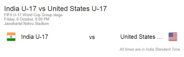 India U17 vs United States U17 match fifa 2017
