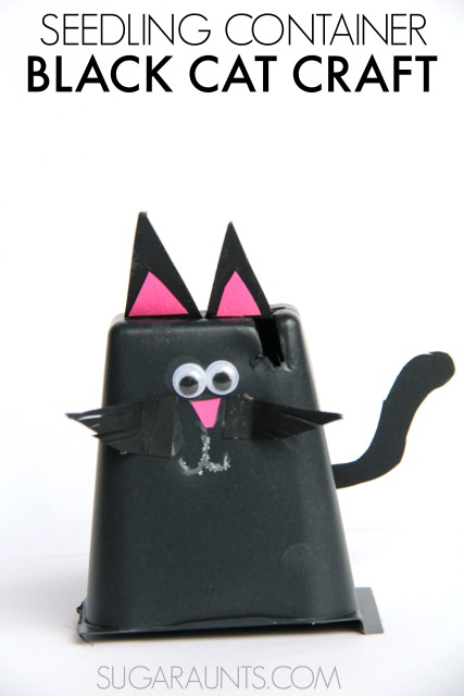 Black cat puppet craft made from recycled seedling containers!