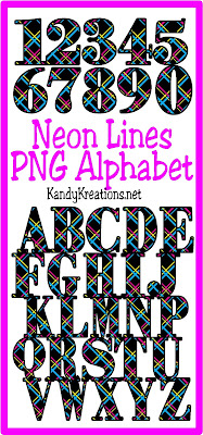 Create fun 80s scrapbook pages or party invitations with this rad alphabet from KandyKreations.  You'll get the numbers 1-9 and the whole alphabet in this free Neon Lines free alphabet.