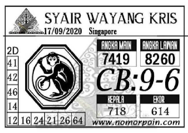 Kode syair Singapore Kamis 17 September 2020 210