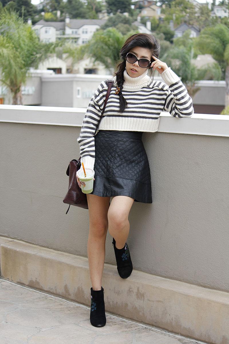 Adrienne Nguyen_Invivtus_Pharmacy Blog_Oversized Cropped Black and White Striped Turtleneck Sweater with Black Leather Skirt