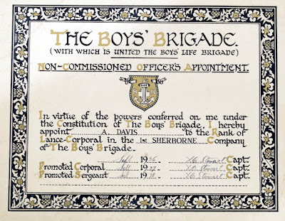 Alec Davis Non-commissioned Officers Appointment: Boys Brigade