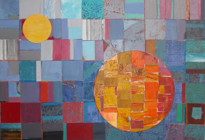 Abstract Art. Collage by Ima Perez-Albert made with small pieces of painted papers.  Size : 40 x 27'5 c
