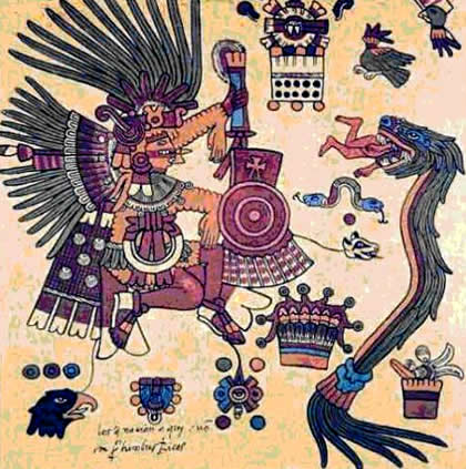 Quetzalcoatl depicted as feathered serpent