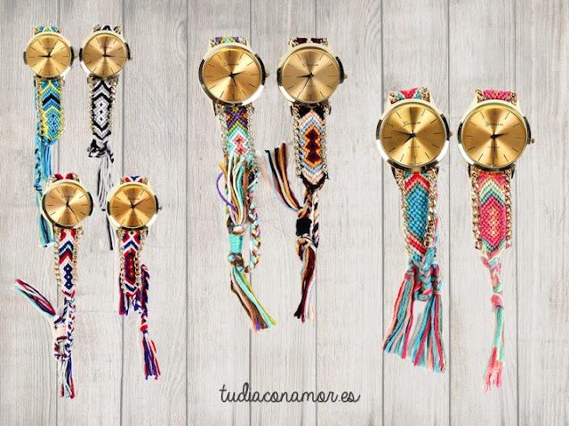 El detalle perfectos para las invitadas de vuestra celebración, relojes étnicos bohemios con cordón trenzado en colores y cadena.