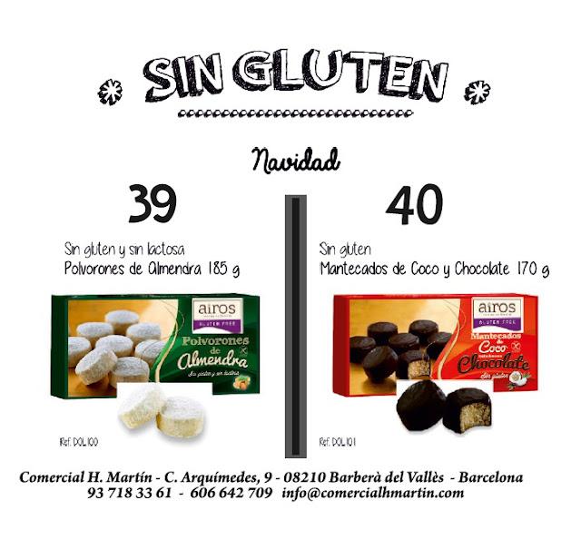 Sin Gluten - Sin Lactosa | Polovorones de Almendra - Mantecados de coco y chocolate Airos - Comercial H. Martín sa