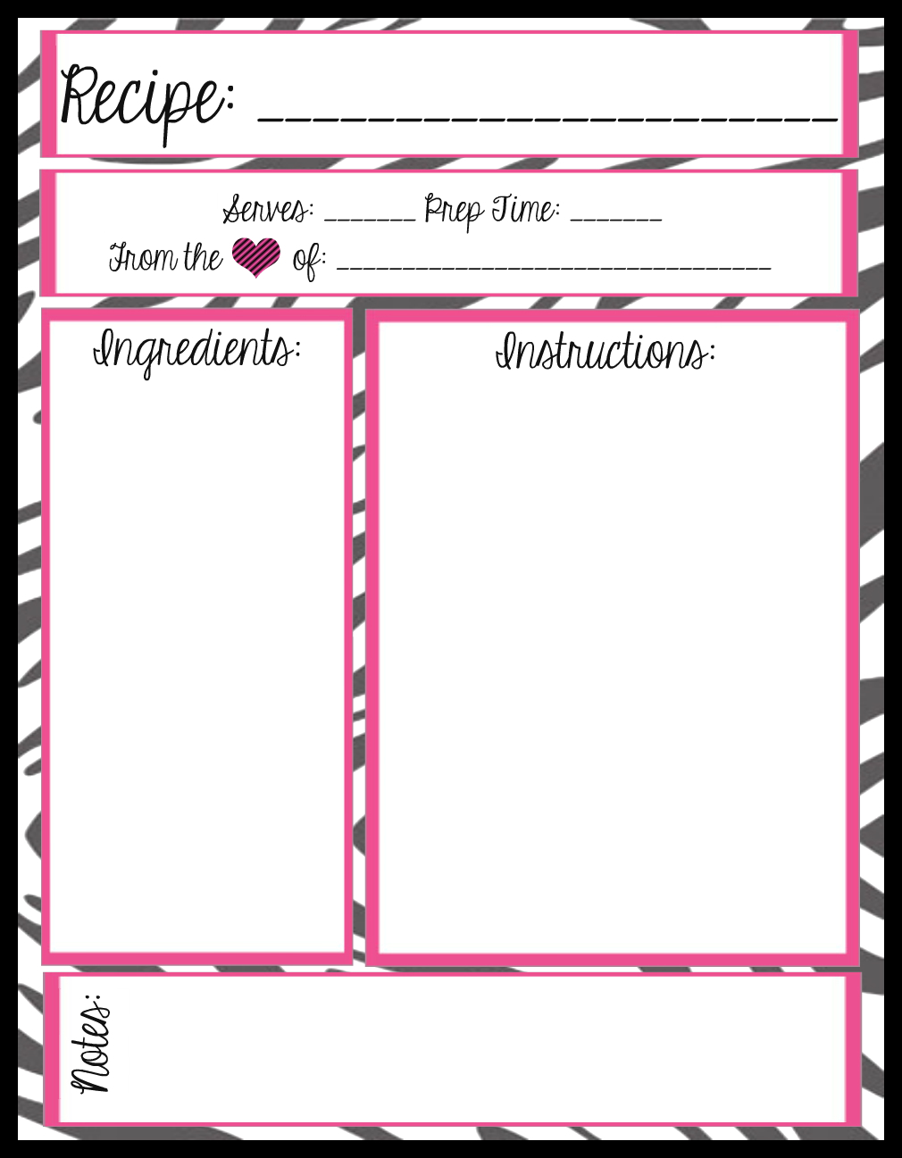 Mesa 39 s place full page recipe templates free printables for Template for recipes in word