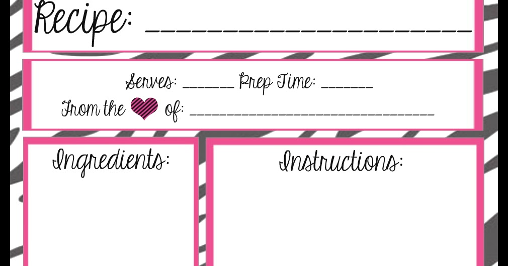 mesas place full page recipe templates free printables