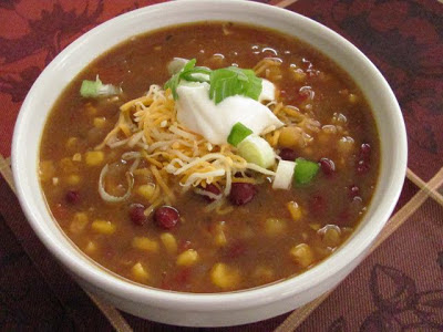Slow Cooker Vegetarian Enchilada Soup from Louanne's Kitchen featured on SlowCookerFromScratch