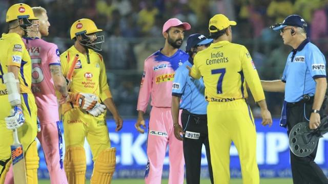 Mahendra Singh Dhoni,  MS Dhoni,  Dhoni,  Captain Cool,  angry Dhoni,  Captain Dhoni,  Umpire,  Dhoni fined,  Ravindra Jadeja,  Ben Stokes, Mitchell Santnar,  Chennai Super Kings, RR vs CSk, cricket, Sports, IPL 2019, Rajasthan Royals,  Rajasthan vs Chennai Scorecard,  Rajasthan vs Chennai Score,  CSK ,  Ajinkya Rahane,  Indian Premier League,  IPL 2019,  IPL 12,  Vivo IPL,  IPL T20,  Dhoni Record,  IPL News,  Latest IPL News