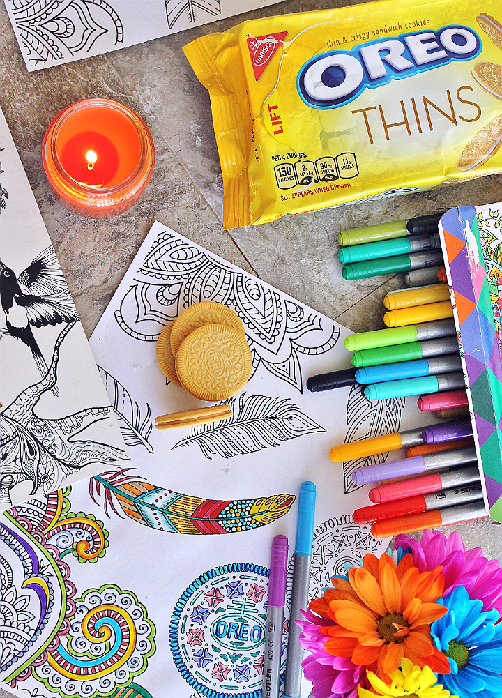 5 Me Time Moments In 5 Minutes- With FREE Adult Coloring Printable Sheet #OREOThinSide (AD) http://cbi.as/5zqdi