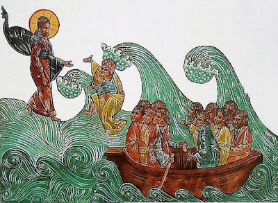 Jesus lifts Peter out of the water