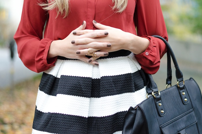 Styled in Aldo midi rings and Target striped skirt