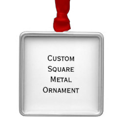 Custom Square Metal Photo Christmas Ornament