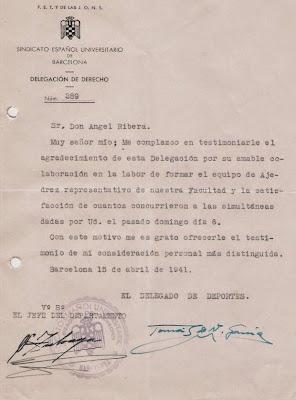 Carta de agradecimiento del Sindicato Español Universitario 1941