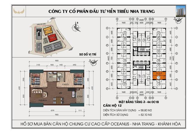 Sơ đồ căn hộ số 12 tòa OC1B Viễn Triều Nha Trang