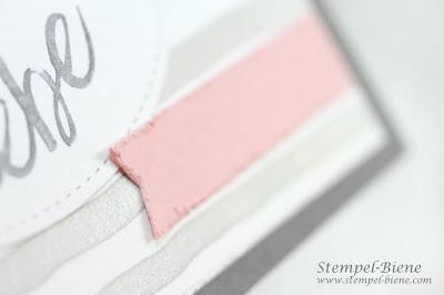 stampinup; Im Herzen; Lebe lache liebe; Brushstrokes; matchthesketch, stempel-biene; Papier fransen; Vintage look Karte