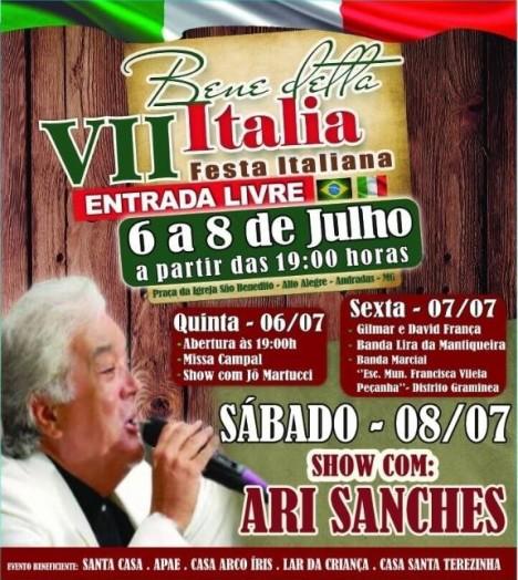 7ª Festa Italiana acontecerá de 6 a 8 de julho em Andradas, MG