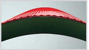 22 lapisan tipis serat selulosa yang dibentuk menjadi atap