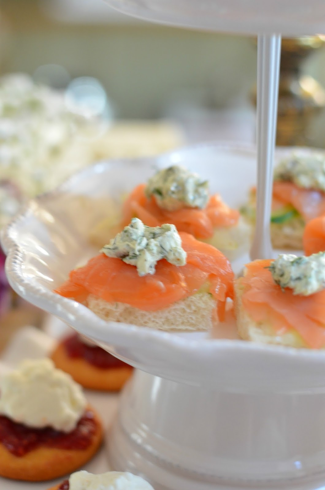 Afternoon Champagne and english Tea Salmon and Herb Cream Cheese Tea Sandwiches