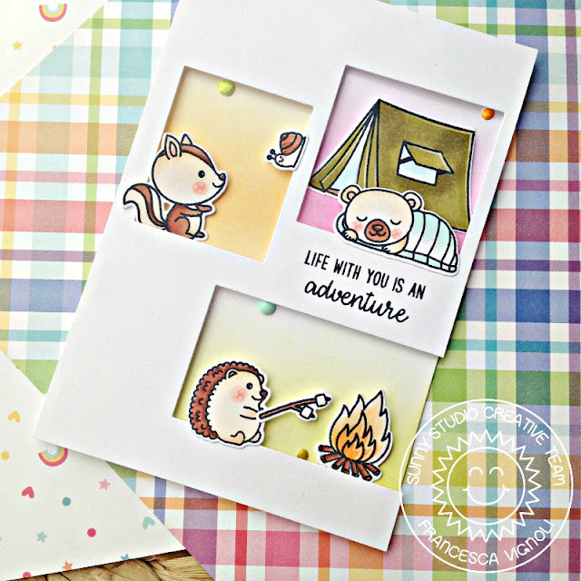 Sunny Studio Stamps: Critter Campout Window Cut Out Card by Franci Vignoli