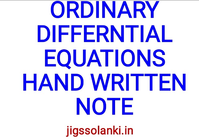 ORDINARY DIFFERENTIAL EQUATIONS HAND WRITTEN NOTE BY PI AIM INSTITUTE