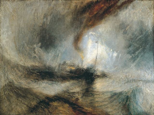 Steam-Boat off a Harbour's Mouth in Snow Storm , 1842. William Turner