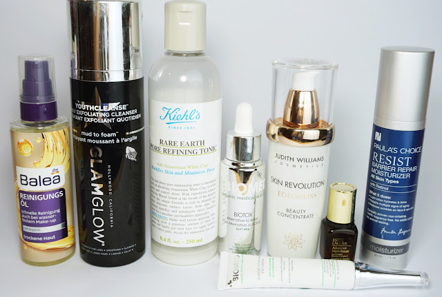 7 Tage - 7 verschiedene Hautpflege-Routinen am Abend GlamGlow, Kiehls, Paulas Choice