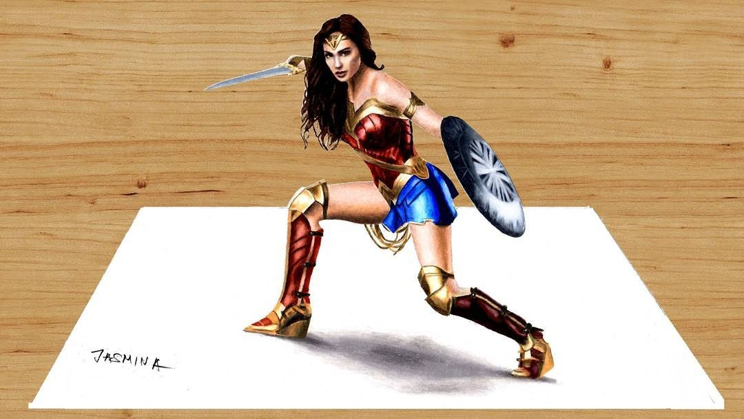 04-3D-Wonder-Woman-Jasmina-Susak-Superheroes-and-Villains-in-2d-and-3d-Drawings-www-designstack-co