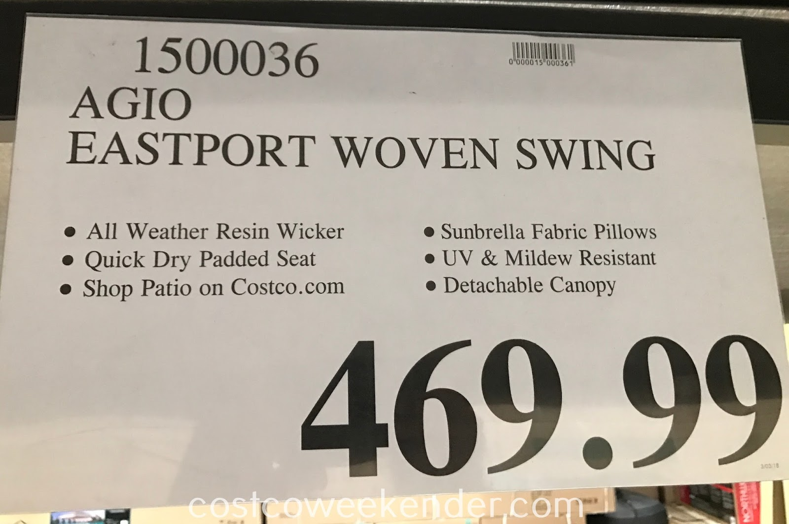 Deal for the Agio Eastport Woven Swing at Costco