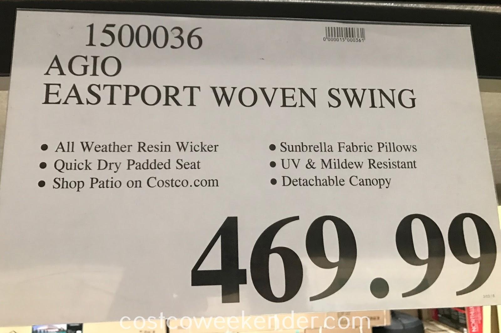 Agio Eastport Woven Swing  Costco Weekender