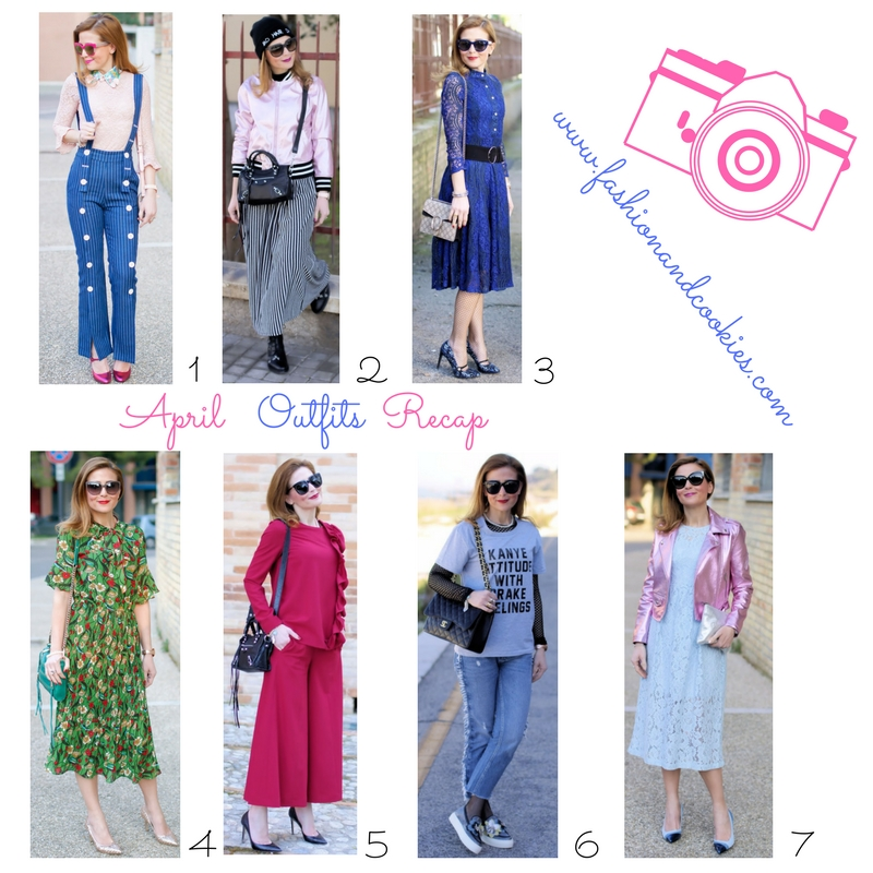 How to dress in Spring: April fashion outfits recap on Fashion and Cookies fashion blog, fashion blogger style