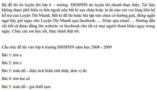 [Đáp án] Đề thi vào lớp 6 trường Nguyễn Tất Thành - ĐHSP Hà Nội 2008 - 2009