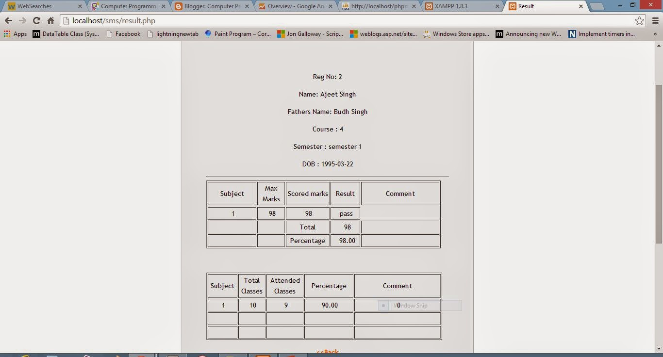 Student result in php