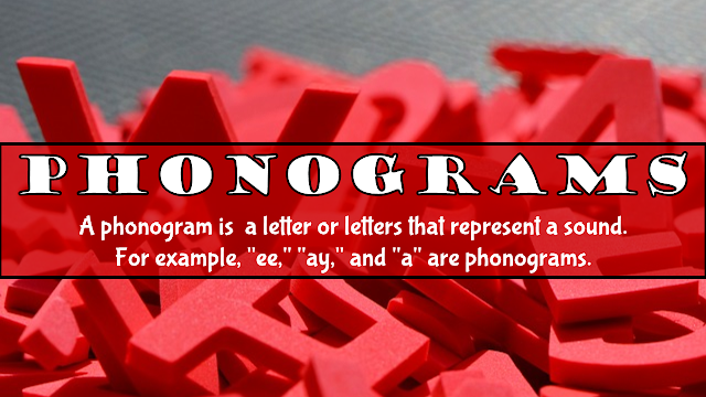 "A phonogram is a letter or letters that represent a sound. For example, ""ee,"" ""ay,"" and ""a"" are phonograms."