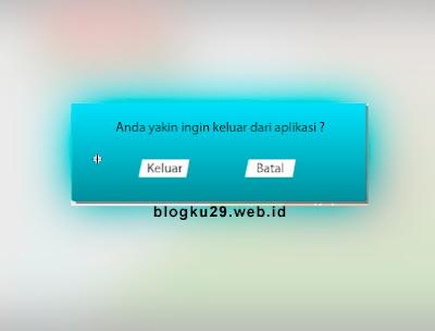 Contoh tampilan notifikasi keluar dari Aplikasi