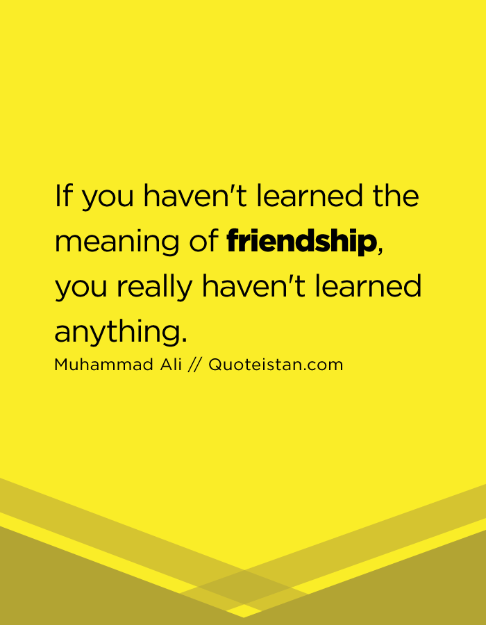 If you haven't learned the meaning of friendship, you really haven't learned anything.