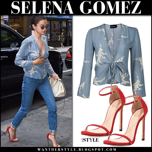 Selena Gomez in blue printed top, jeans and red sandals stuart weitzman nudist september 25 2017 street fashion