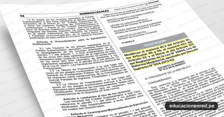 MINEDU: Docentes que no se presenten a Evaluación de Desempeño, serán desaprobados sin perjuicio del proceso administrativo disciplinario que corresponde, según Decreto Supremo que modifica el Reglamento de la Ley de Reforma Magisterial