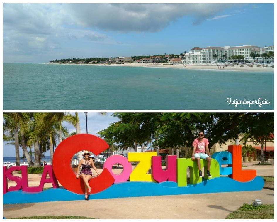 """En la primera foto se observa Playa del Carmen desde el Ferry. La segunda foto corresponde a la Plaza de Cozumel, ubicada en la mayor y principal ciudad de la isla """"San Miguel de Cozumel"""""""