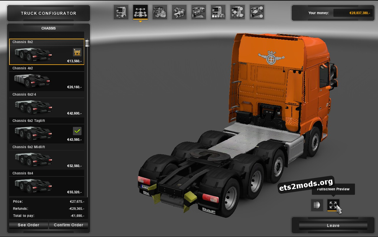 Chassis 6 8×2 for DAF Euro V 1.0