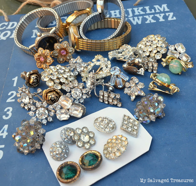 vintage rhinestone jewelry for repurposing projects