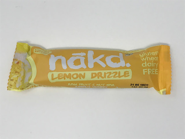 A single bar of nakd lemon drizzle in a yellow packet