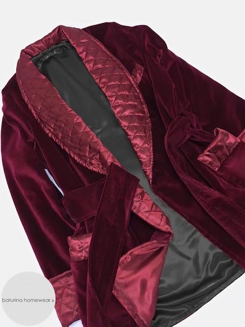 Men's velvet smoking jacket quilted silk dressing gown burgundy