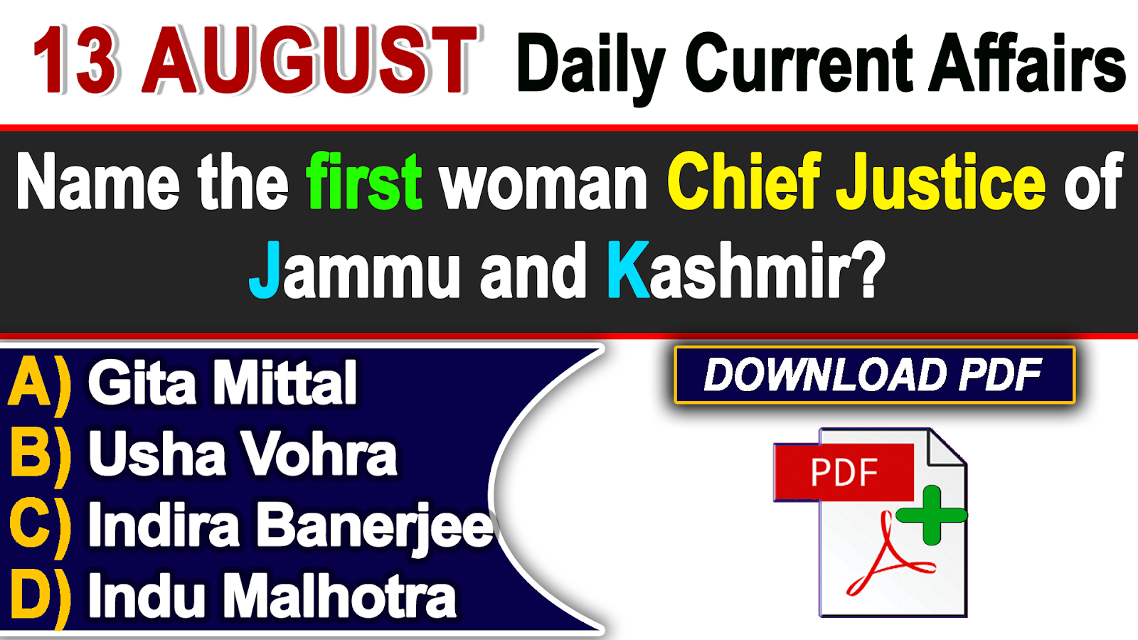 GK & Current Affairs Quiz: August 13, 2018