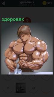 Карикатура здоровяка мужчины с крупными мускулами на теле