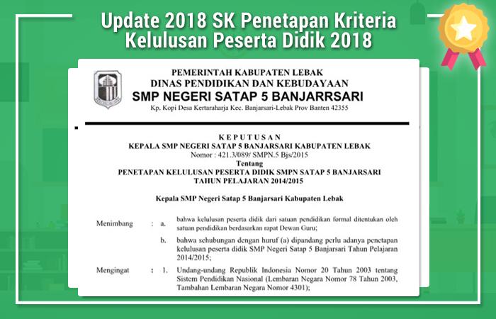 SK Penetapan Kriteria Kelulusan Peserta Didik 2018