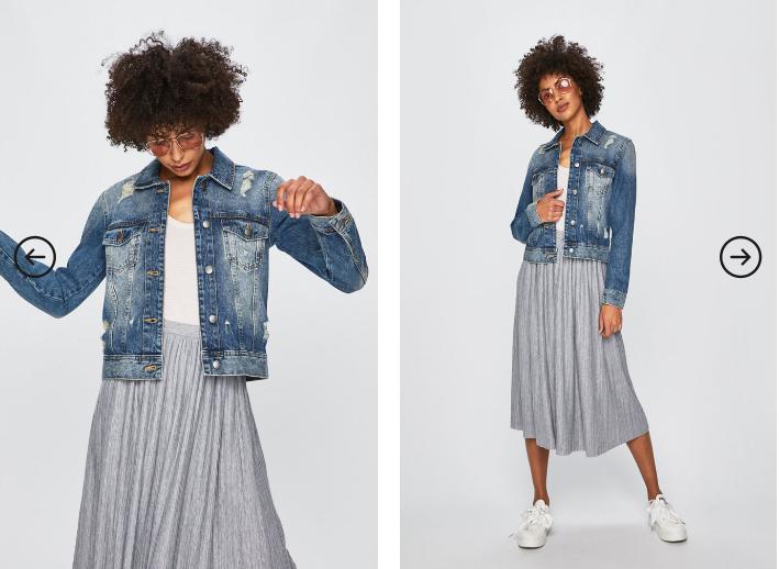 Jacqueline de Yong - Geaca jeans albastru prespalat moderna 2019