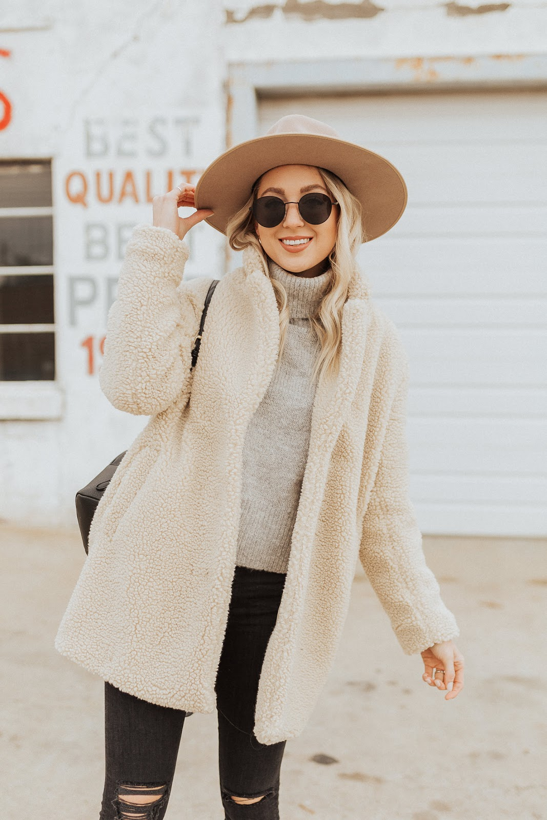 cozy neutral outfit idea for winter