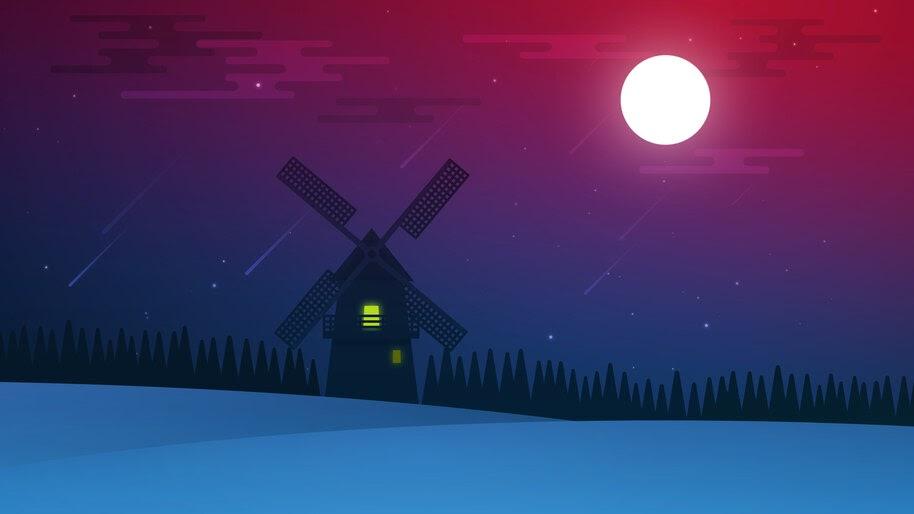 Moon, Night, Minimalist, Windmill, Illustration, Digital Art, 4K, #4.2068